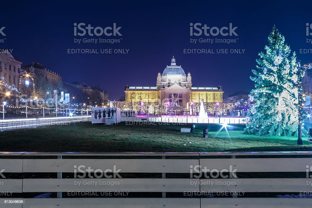 Advent in Zagreb, Ice Park, Art pavilion and Christmas stands stock photo
