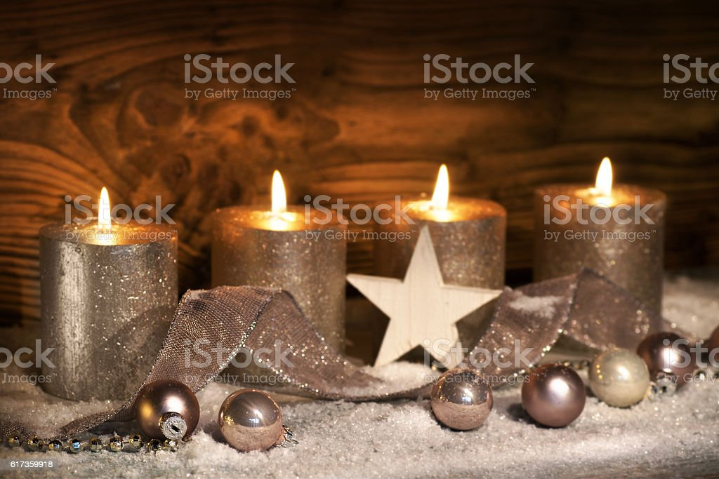 Advent motive with four candles stock photo