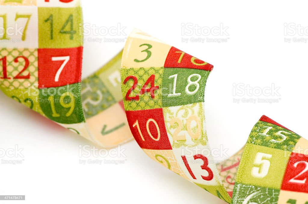 Advent Ribbon with numbers stock photo