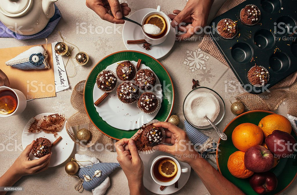 Advent time tea party with homemade muffins stock photo