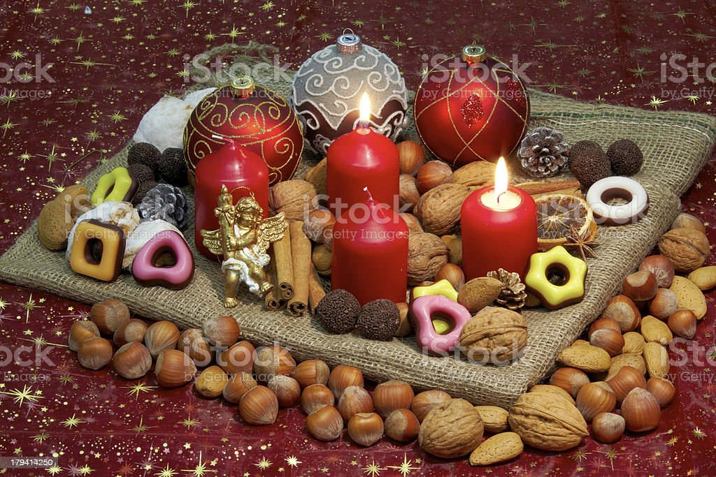 Advent wreath - 2nd Candle lit royalty-free stock photo