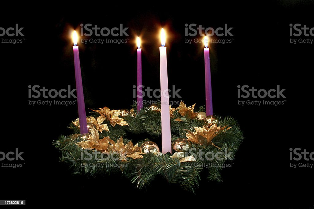 advent wreath on black stock photo