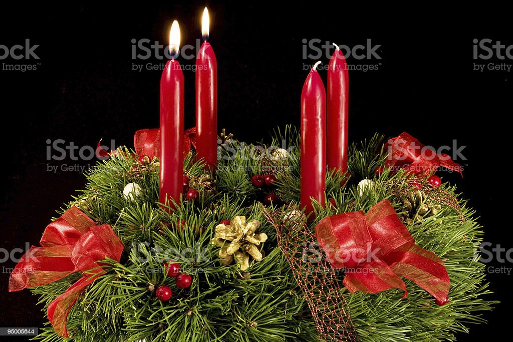Advent wreath over black royalty-free stock photo