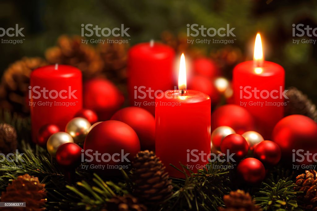 Advent wreath with 2 burning candles stock photo
