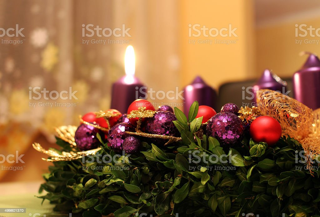 Advent wreath with candles as christmas symbol stock photo