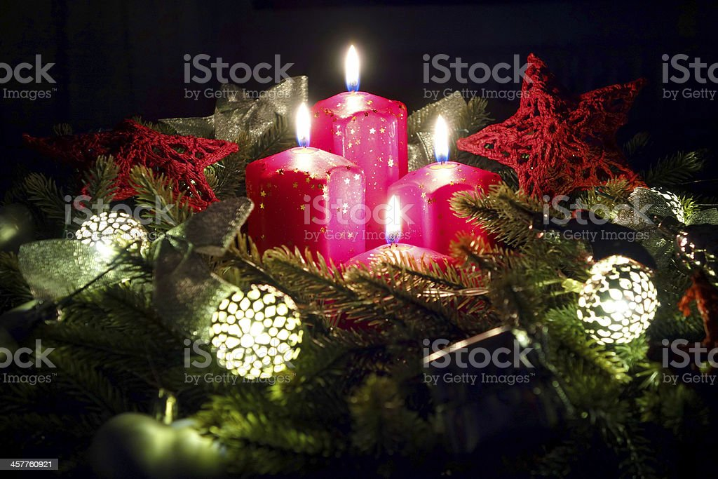 Advent wreath with candles stock photo