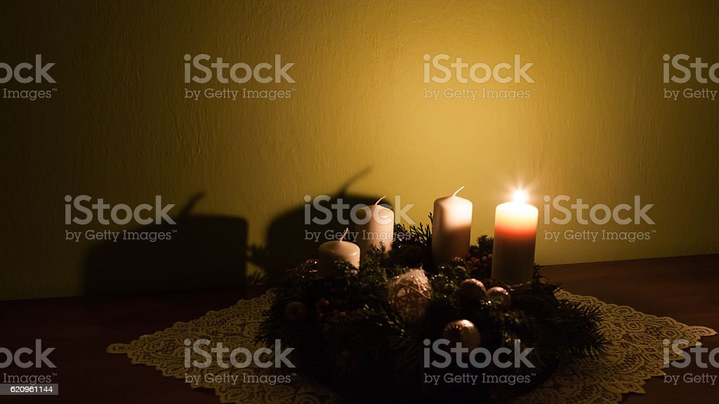 Advent wreath with four candles stock photo