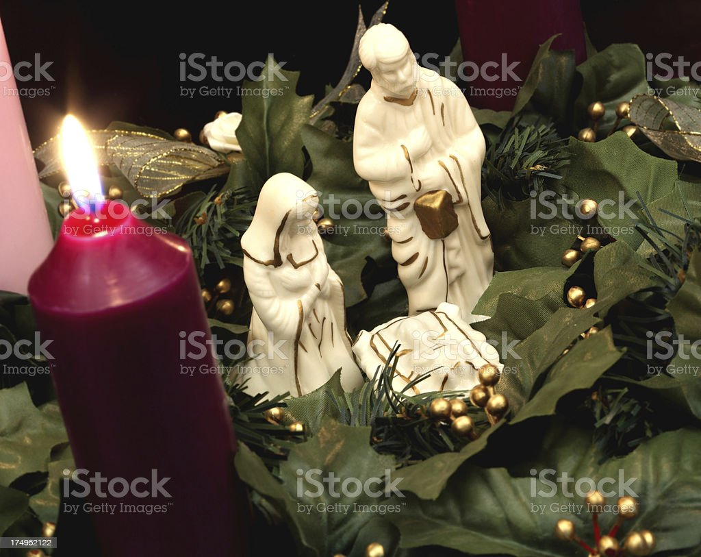 Advent Wreath with Nativity Scene stock photo