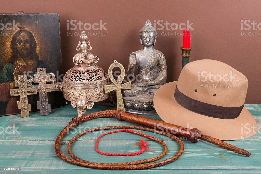Adventure and archeological concept for lost artifacts stock photo