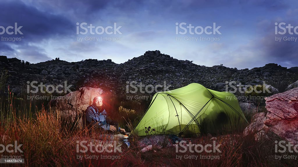 Adventure camping tent night stock photo