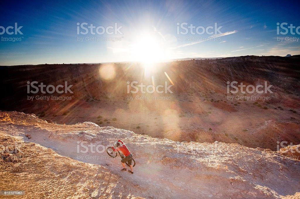 adventure inspiration man desert landscape stock photo