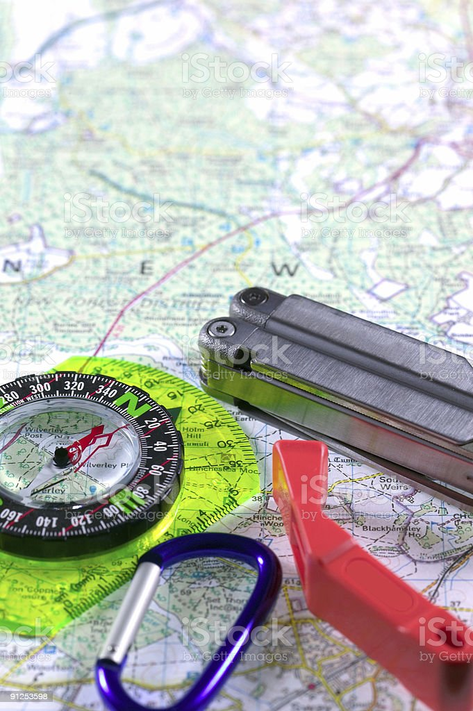Adventure map and accessories royalty-free stock photo
