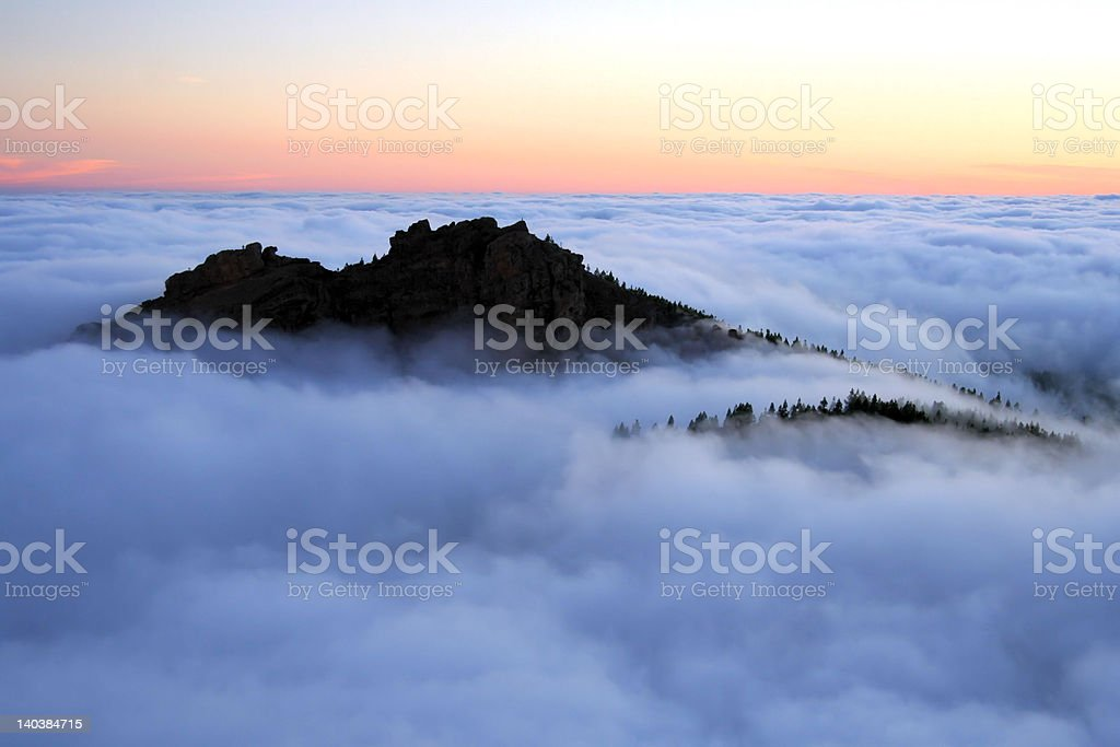 'Adventure', mountain between clouds royalty-free stock photo