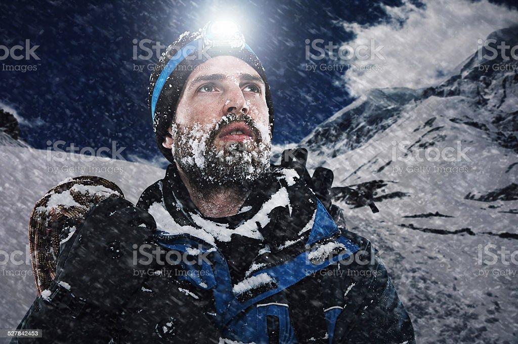 Adventure mountain man stock photo