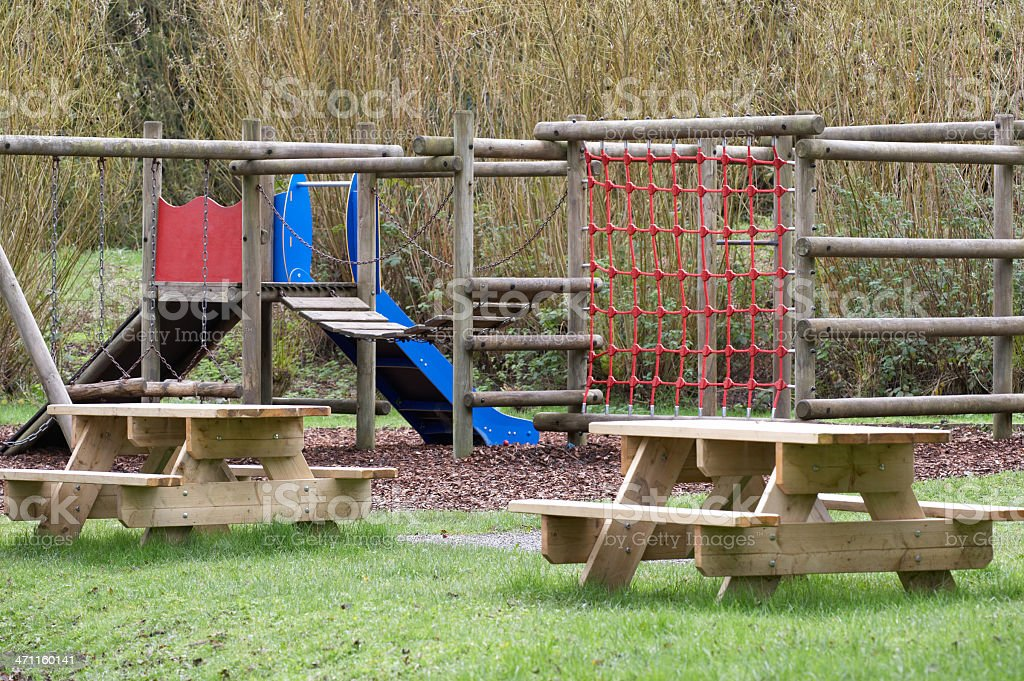 Adventure playground equipment stock photo