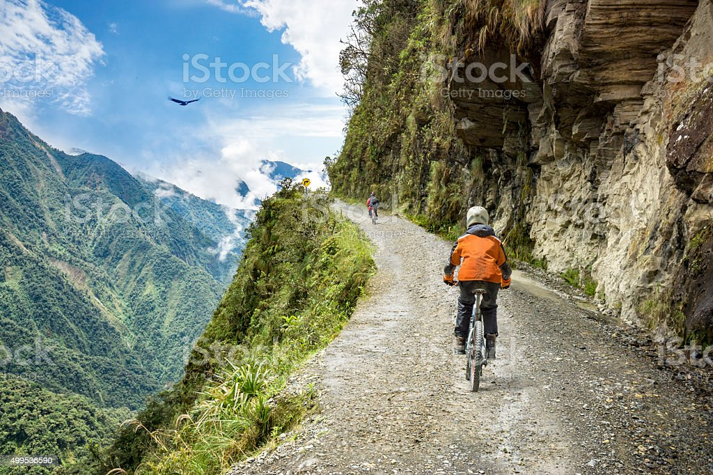 Adventure travel downhill biking road of death stock photo