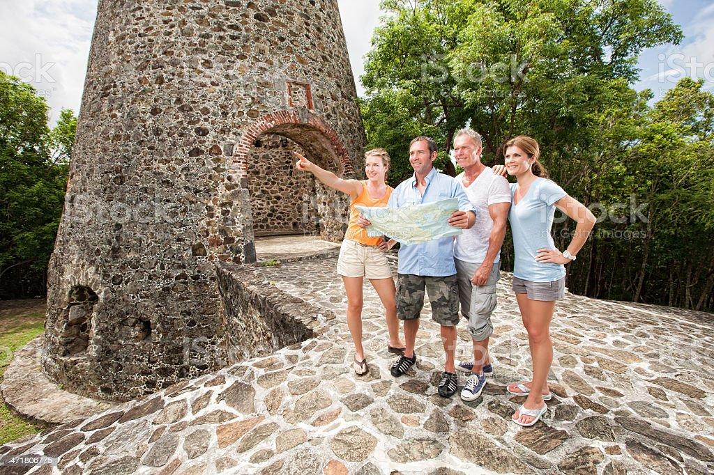 Adventure Travelers Exploring Ruins royalty-free stock photo
