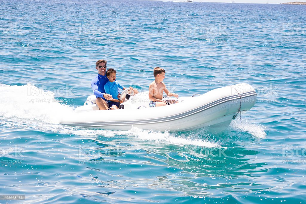 adventure trip on dinghy stock photo