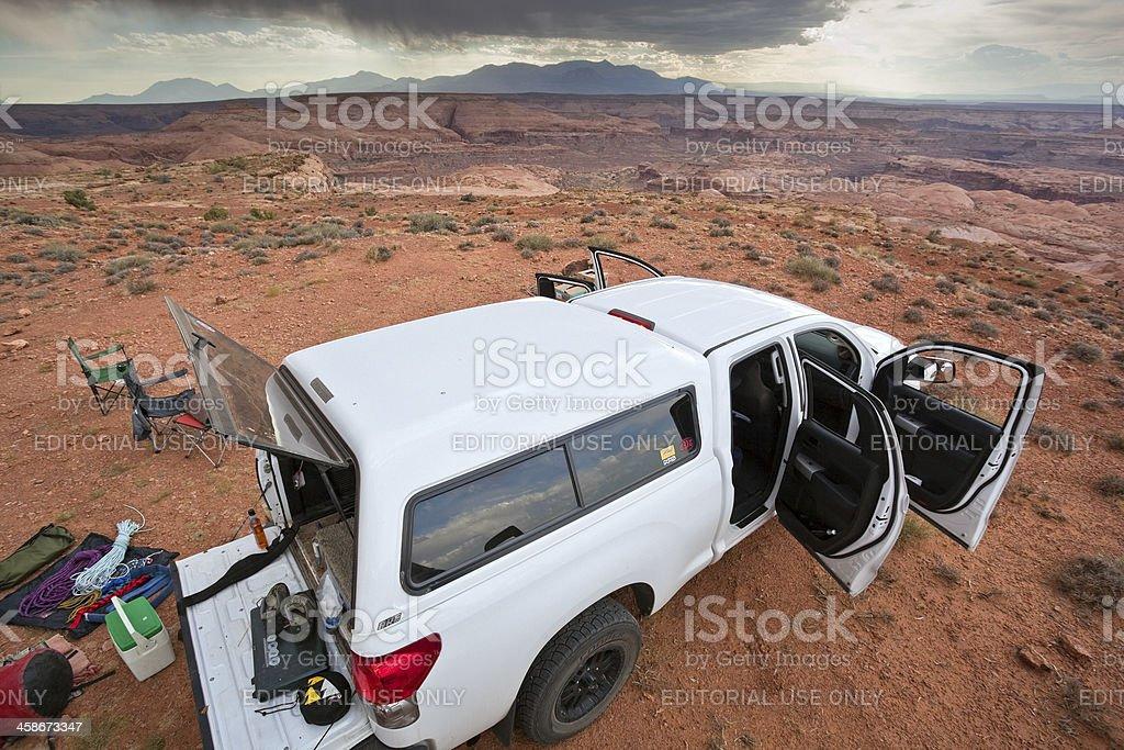 adventure truck desert mountain landscape stock photo