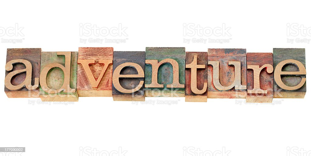 adventure word in letterpress type royalty-free stock photo