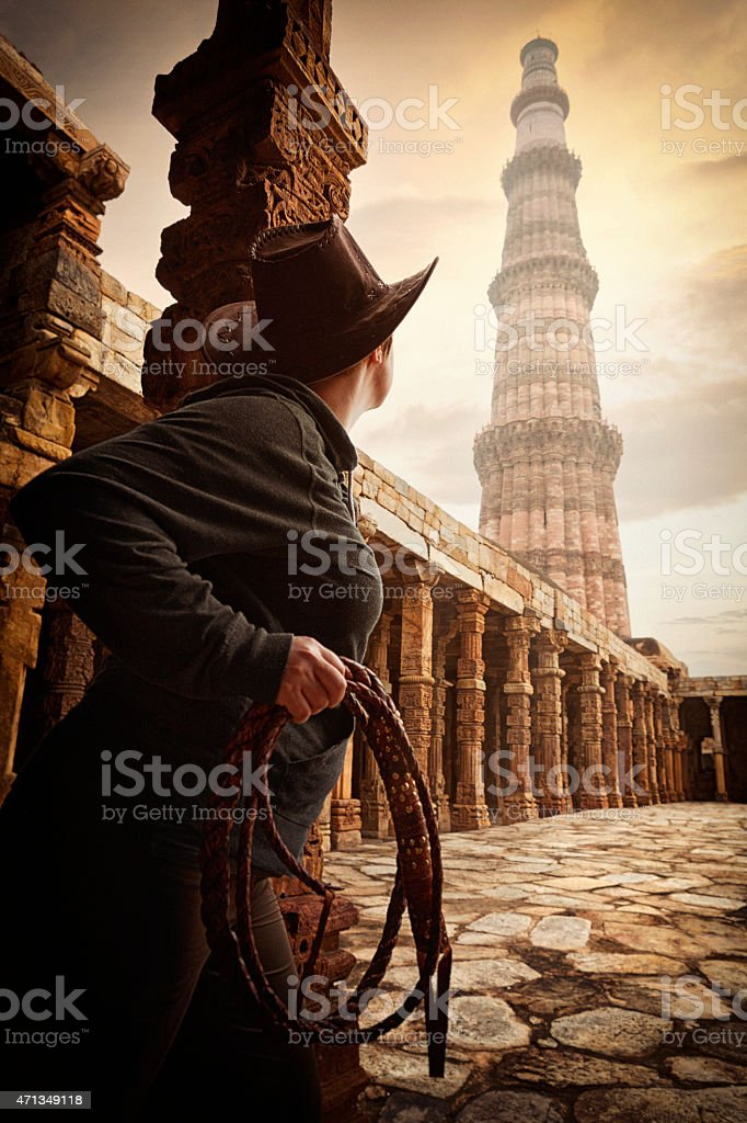 Adventurer Discovering Ancient Ruins stock photo