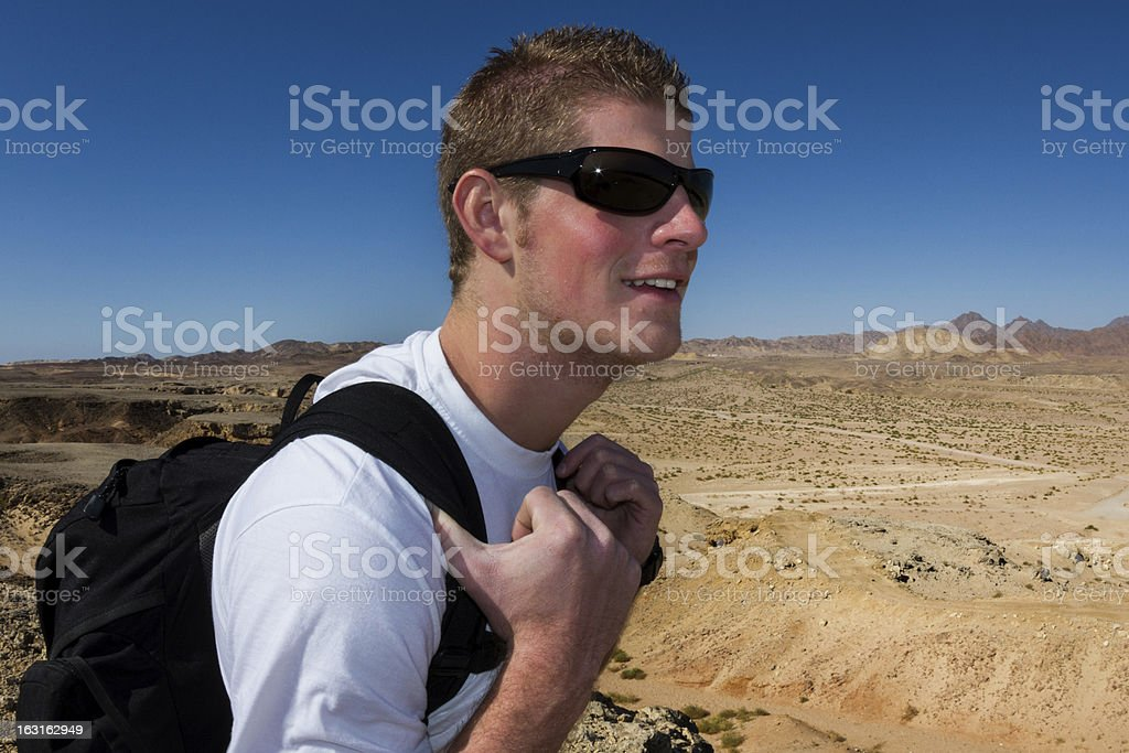 Adventurer In The Desert royalty-free stock photo