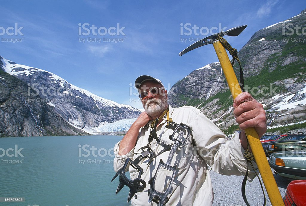 Adventurer portrait at the lake royalty-free stock photo