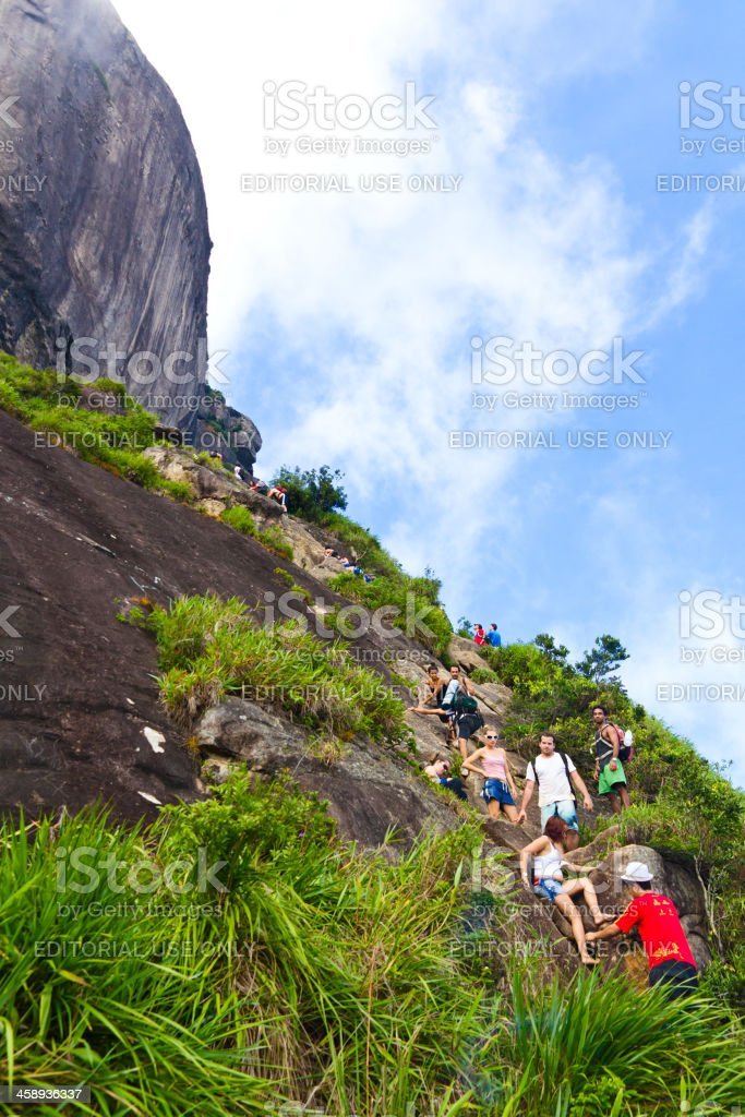 Adventurers at Pedra da Gavea stock photo