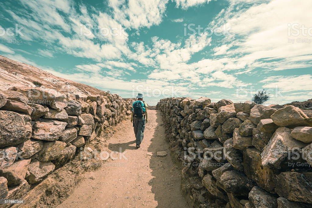 Adventures on Island of the Sun, Titicaca Lake, Bolivia stock photo