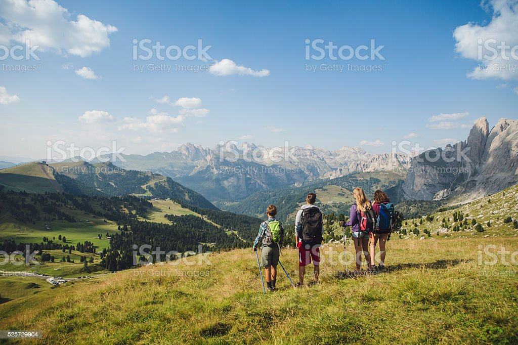 Adventures on the Dolomites at summer stock photo