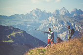 Adventures on the Dolomites: friends hiking