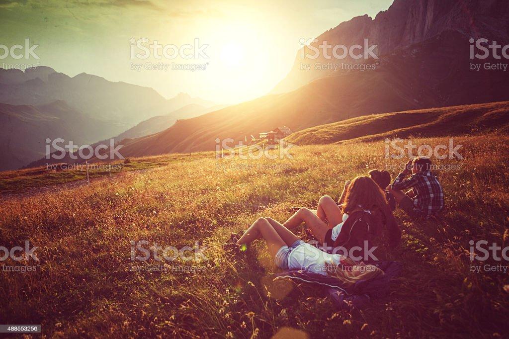 Adventures on the Dolomites stock photo