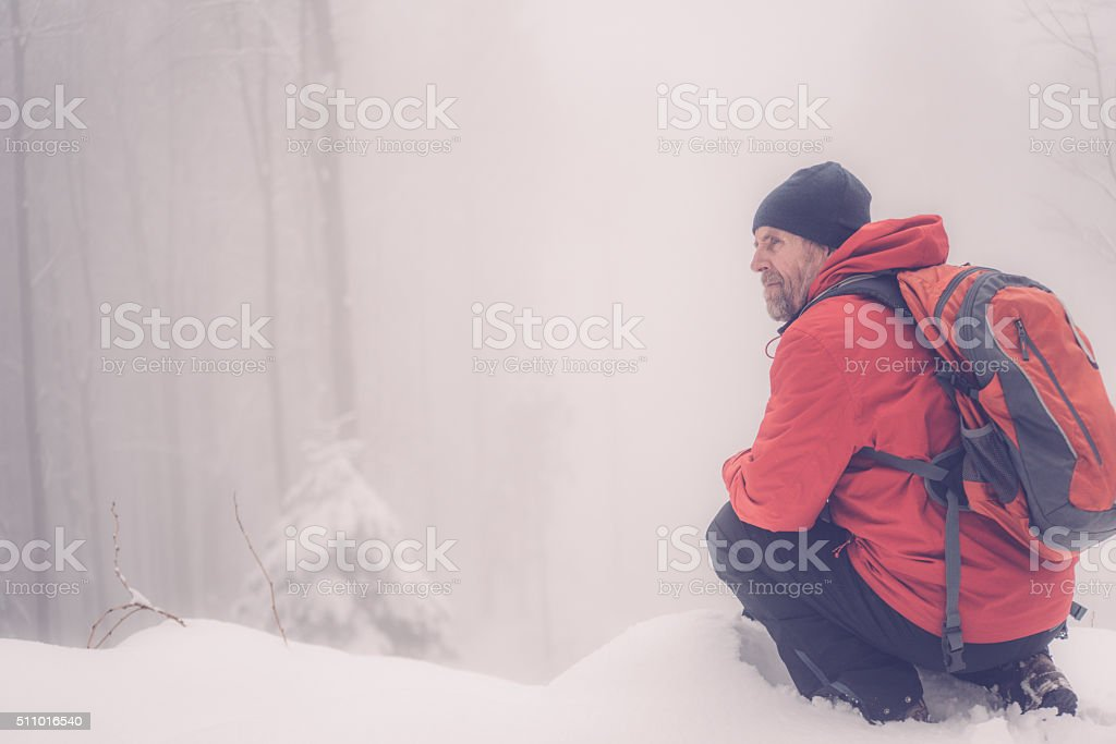 Adventurous Senior Man Hiking in Forest, Fog, Snowing,  Alps, Europe stock photo