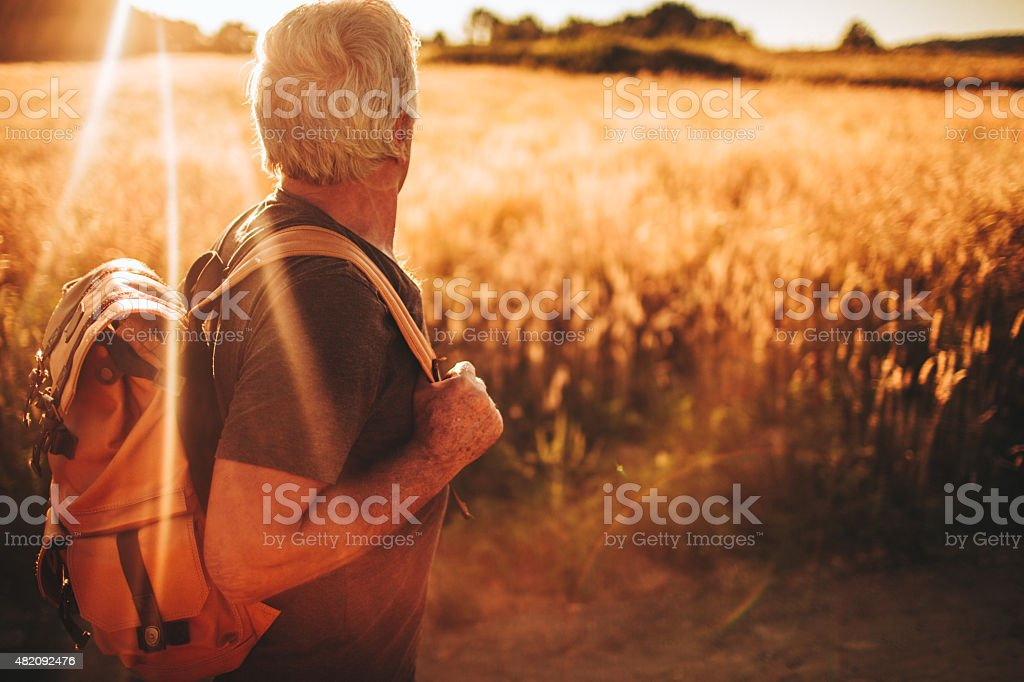 Adventurous senior man stock photo