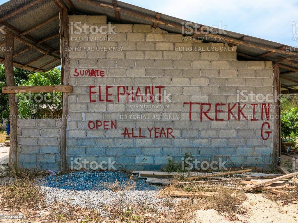 Advert sign elephant trekking camp koh lanta thailand stock photo