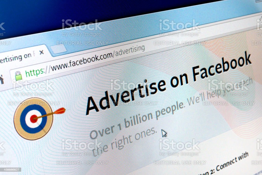 Advertise on Facebook royalty-free stock photo