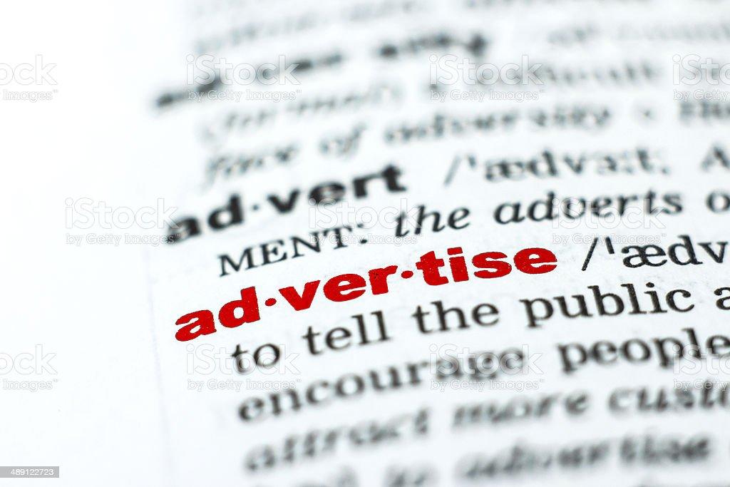 Werbung-Wort aus dem Wörterbuch/vocabulary Lizenzfreies stock-foto