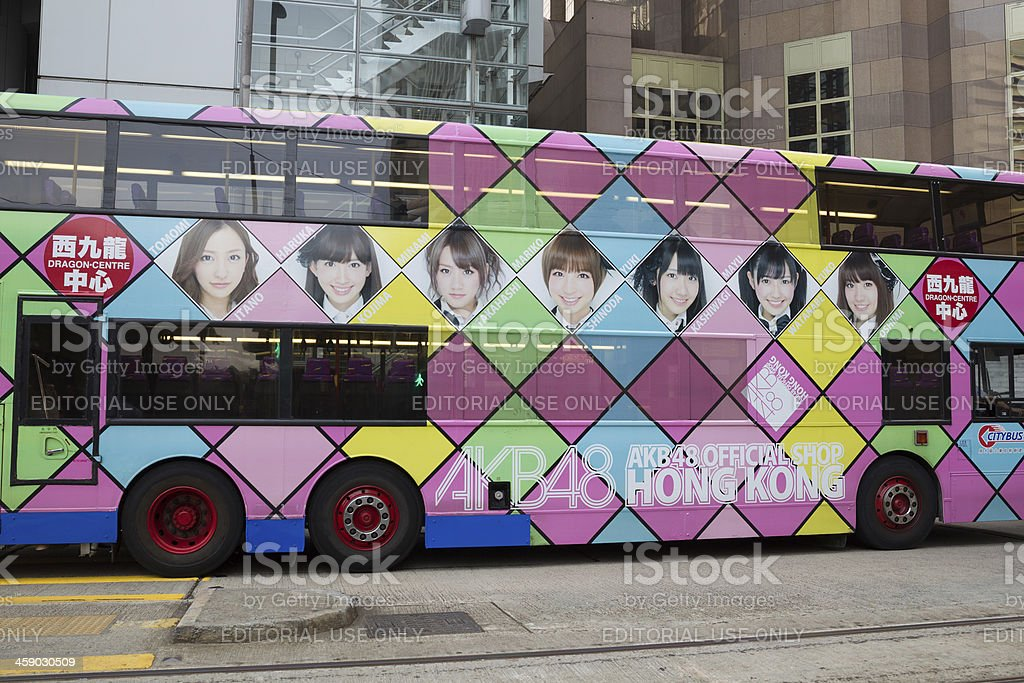 AKB48 advertisement on the bus in Hong Kong royalty-free stock photo