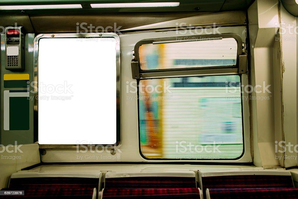 Advertisement panel inside subway train stock photo