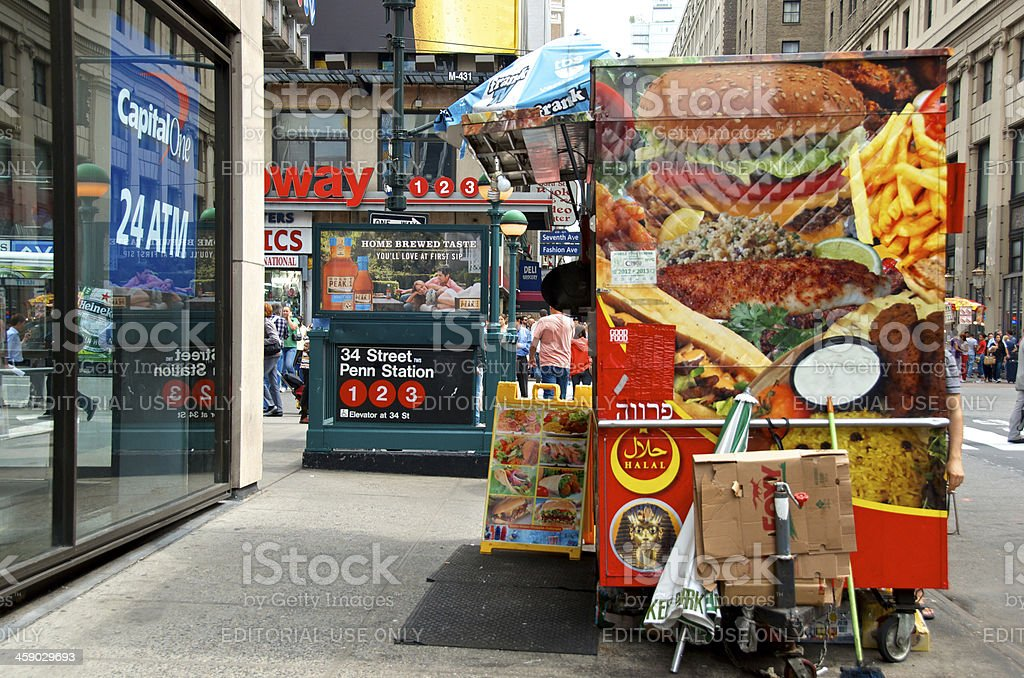 Advertisements all around, W.33rd St and 7th Ave., Manhattan, NYC royalty-free stock photo