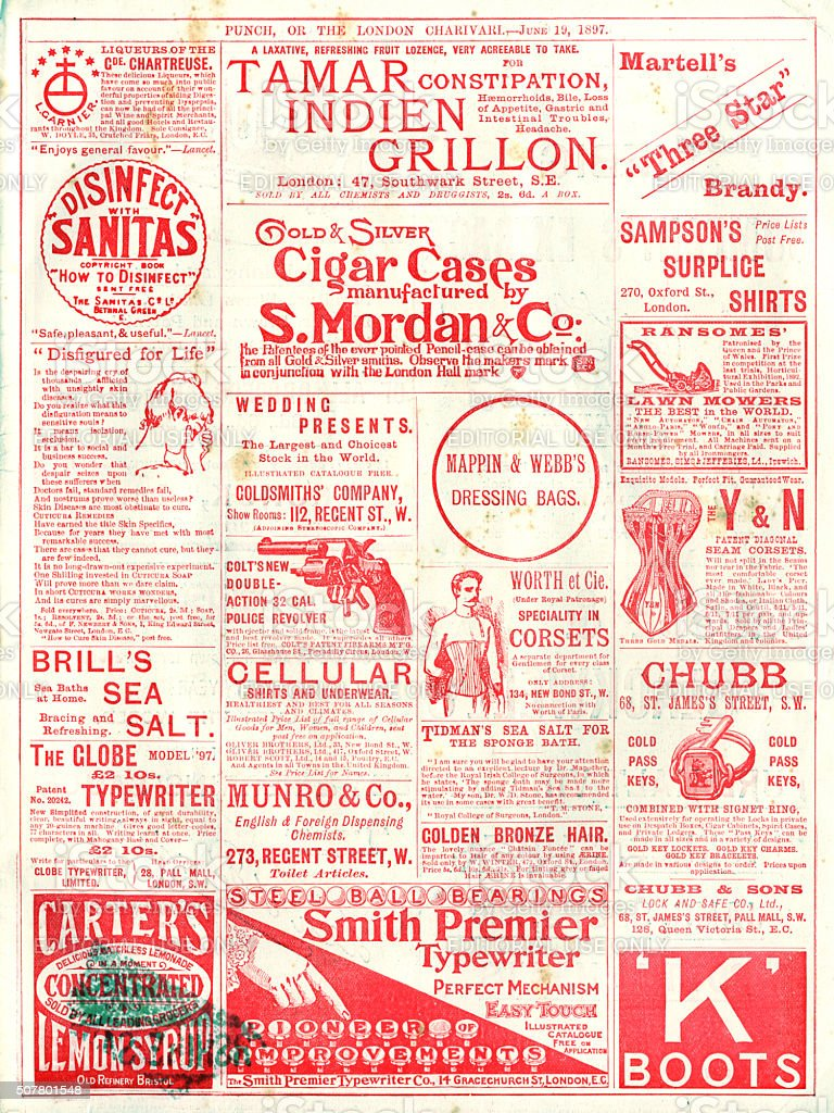 Advertisements from Punch magazine, 1897 stock photo