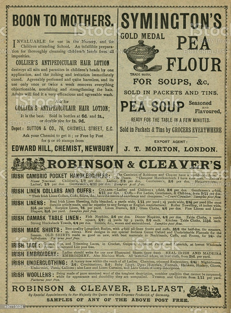 Advertisements from the late 1890s stock photo
