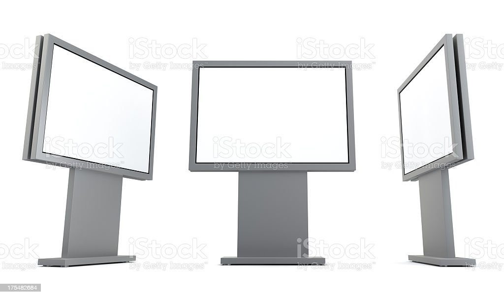 3D advertising billboards isolated on a white background royalty-free stock photo