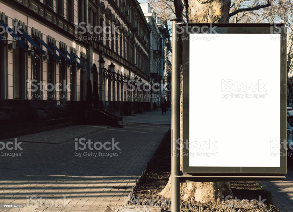 Advertising blank display in the old city stock photo