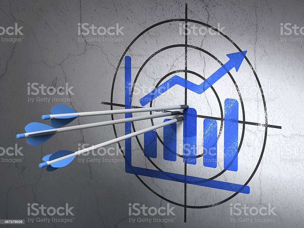 Advertising concept: arrows in Growth Graph target on wall background stock photo