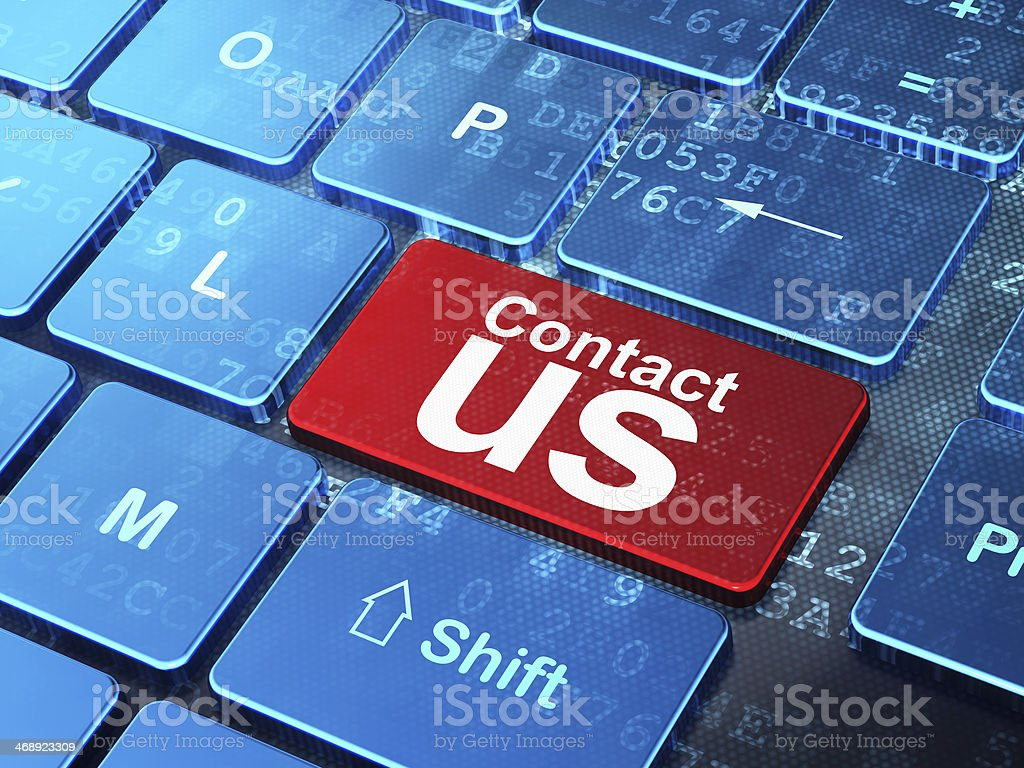 Advertising concept: Contact Us on computer keyboard background stock photo