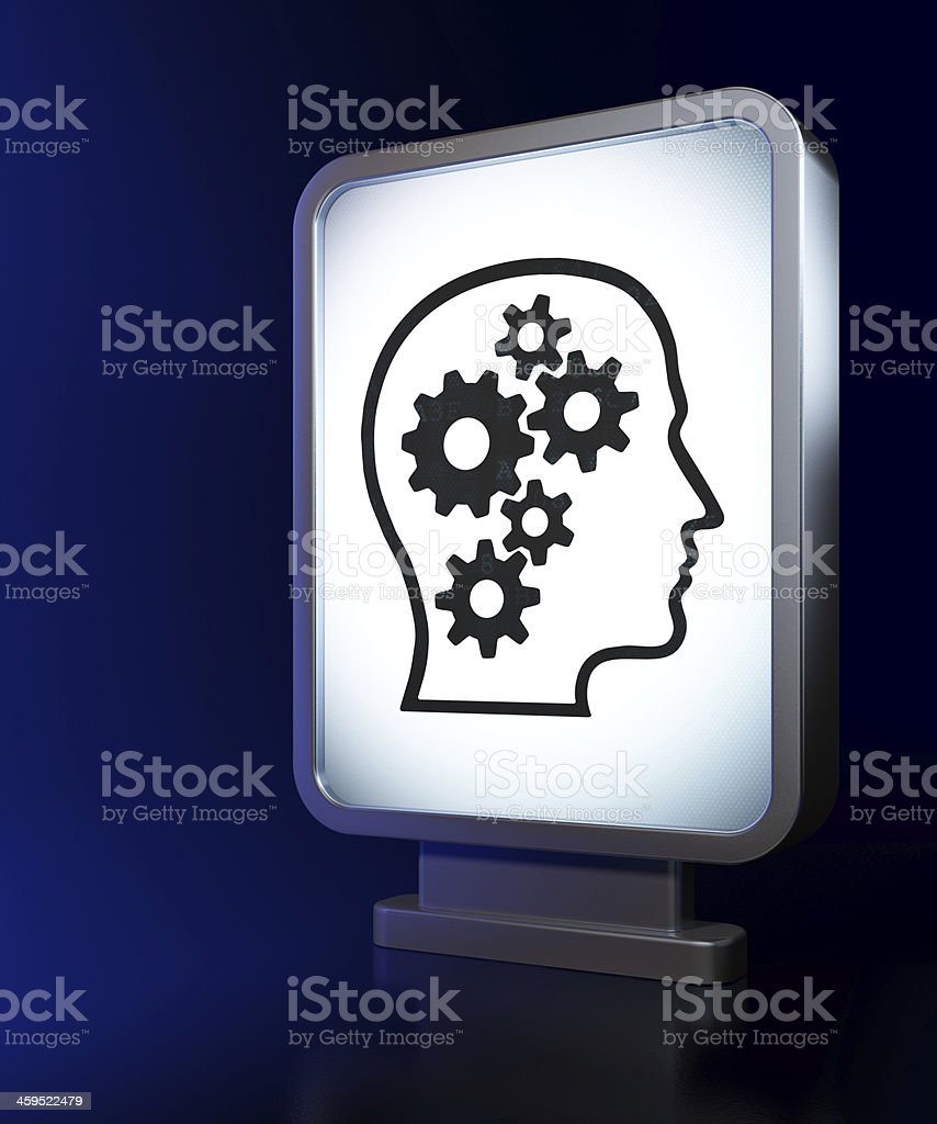 Advertising concept: Head With Gears on billboard background royalty-free stock photo