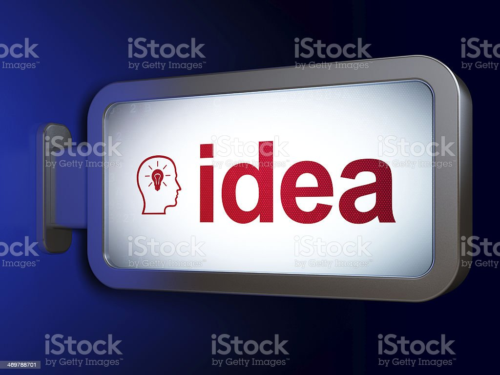 Advertising concept: Idea and Head With Lightbulb on billboard background royalty-free stock photo