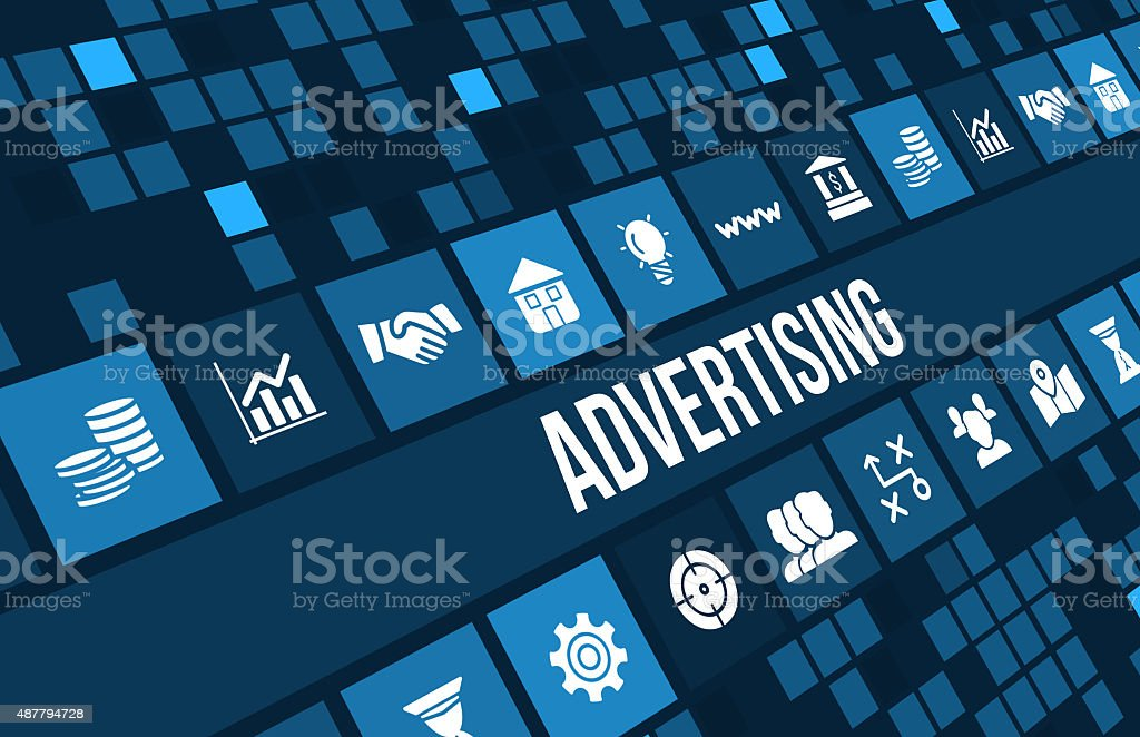 Advertising concept image with business icons and copyspace. stock photo