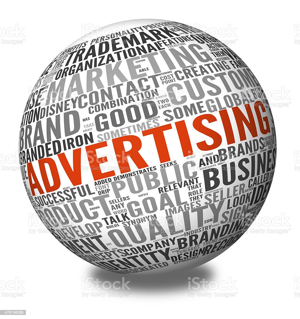 Advertising concept in word tag cloud stock photo